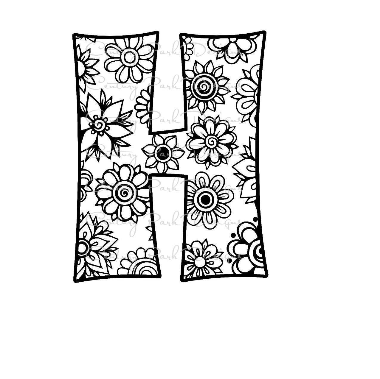 Letter H Alphabet Flowers Svg Jpeg Png Pdf Use With Silhouette Studio And Cricut Design Space C Mandala Coloring Pages Mandala Coloring Coloring Pages