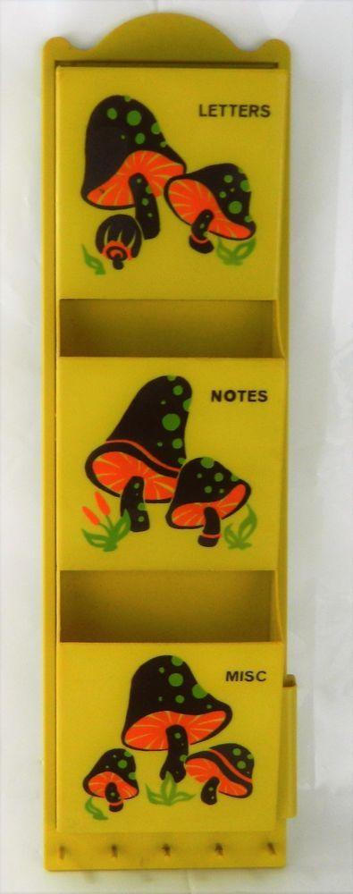 Retro MCM Wall Mount Letter Bill Holder Rack Vtg Mushroom Decor Key ...