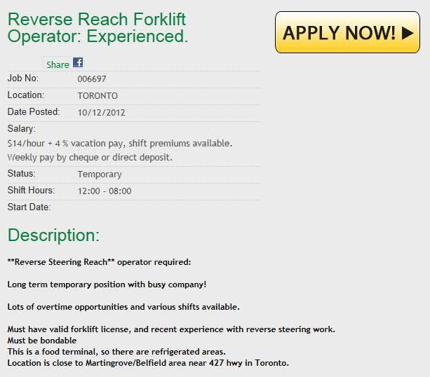 $14/hr Toronto/Concord Area Jobs Apply online now at www