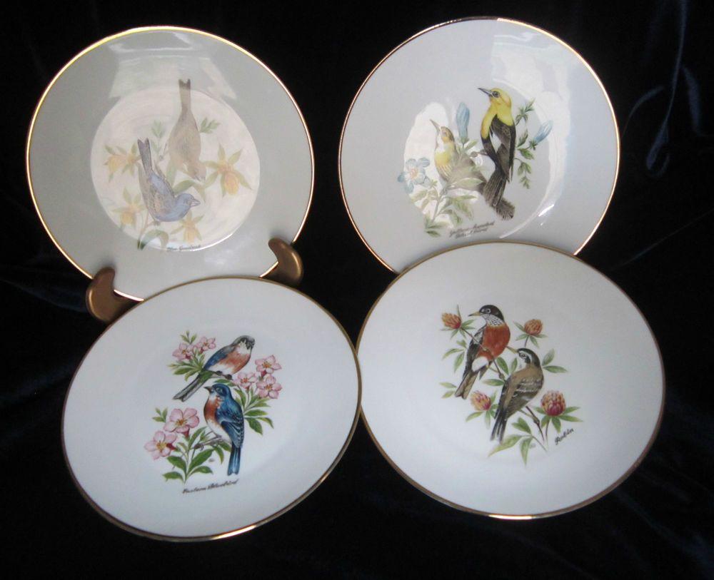 Bareuther Waldsassen Bavaria Plates of Birds \u0026 Wildflowers (4) - BTH40 - Germany & Bareuther Waldsassen Bavaria Plates of Birds \u0026 Wildflowers (4 ...