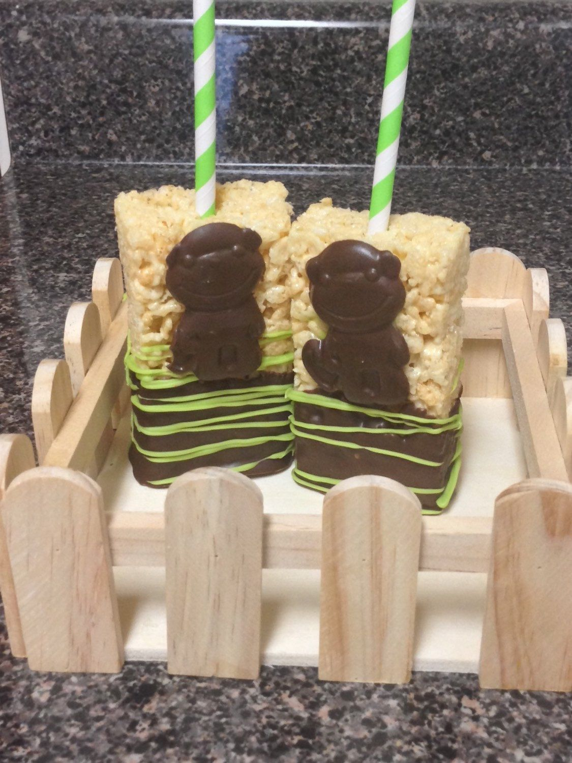 A personal favorite from my Etsy shop https://www.etsy.com/listing/251368871/monkey-chocolate-covered-rice-krispy