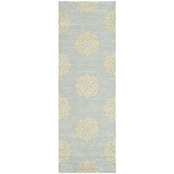 Handmade Soho Medallion Light Blue N. Z. Wool Runner (2'6 x 8')/for upstairs hall
