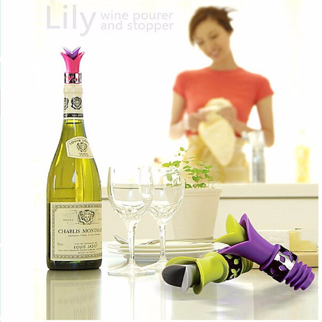 Retail 1 Pcs New Lily Wine Bottle Stoppers Silicone durable quality ...