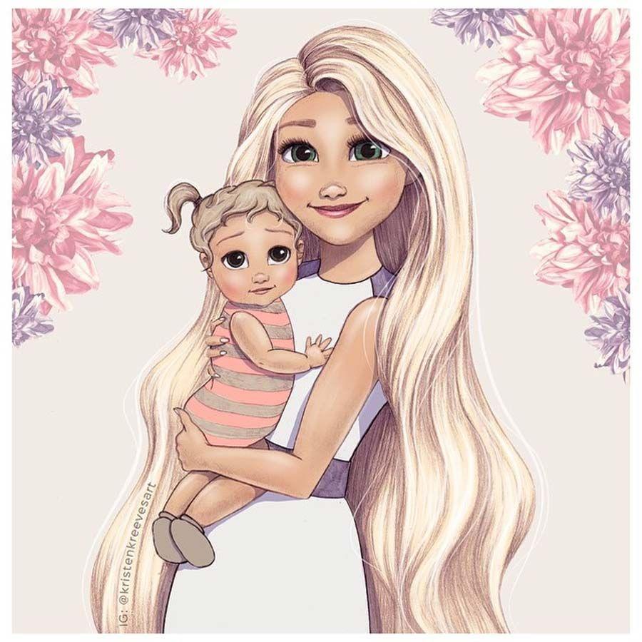 Princesas Disney Com Seus Bebes Com Imagens Desenhos De