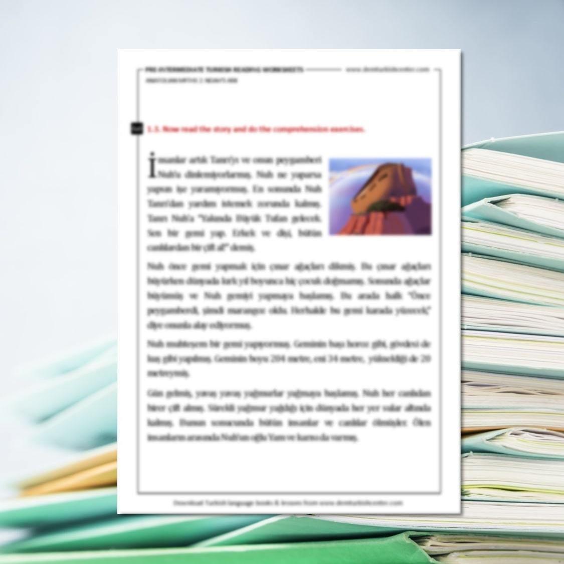 Turkish Worksheets Anatolian Myths 2 Noah S Ark Pre