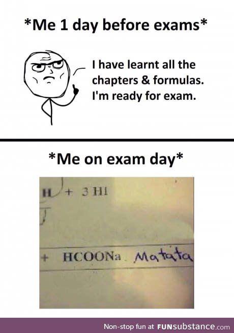 Ughhh I've got my chem exam today - FunSubstance
