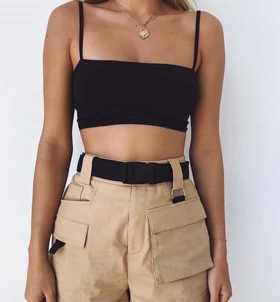 Black Ribbed Knit Crop Top | Shop on sheisrebel.com 2
