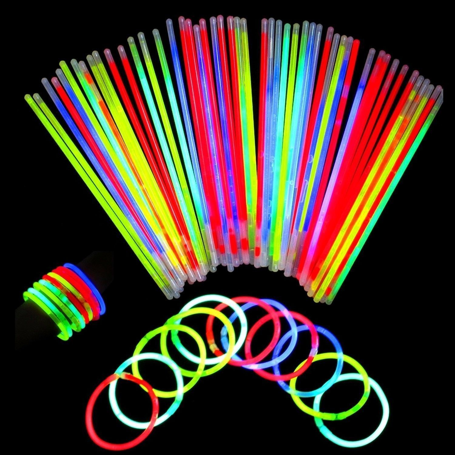Neon Light Up Glow Sticks Bright Glo Lite Stix 8'' Bracelet Necklace Favors 2...