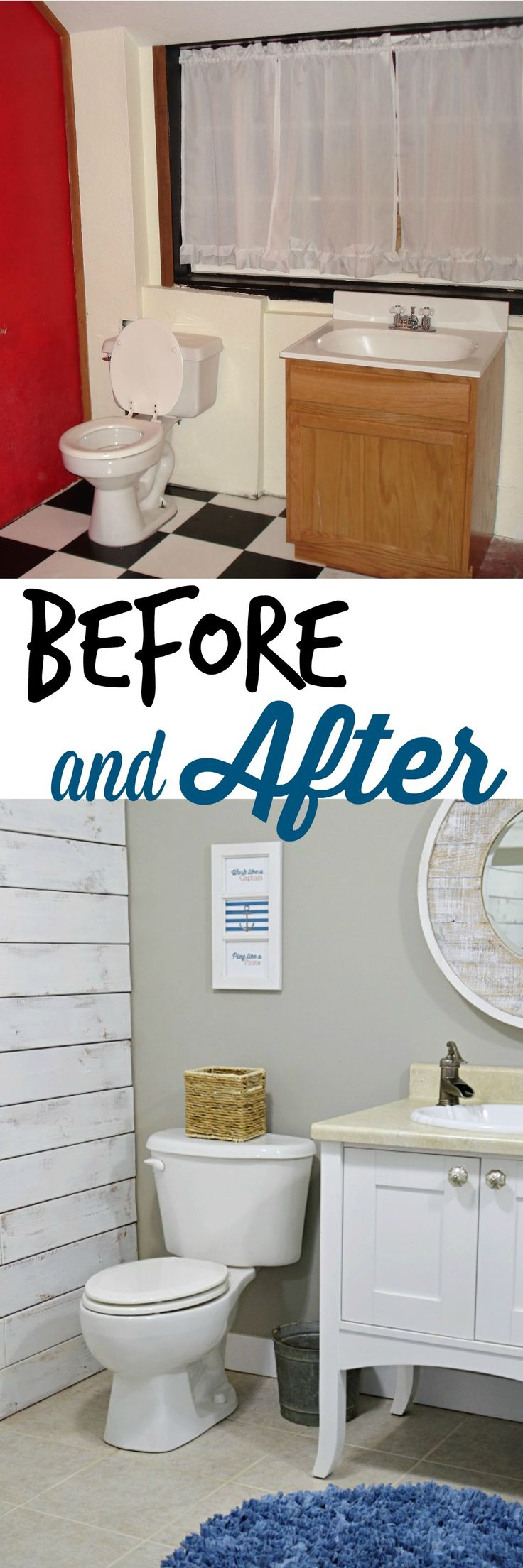 Budget Bathroom Remodel Style nod to nautical bathroom makeover reveal | budget bathroom