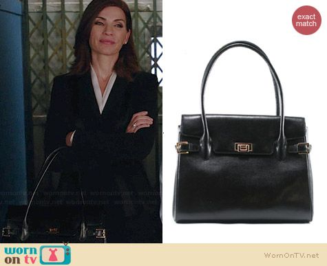 36dea6deb816 Alicia s black handbag with buckles on The Good Wife. Outfit Details  http