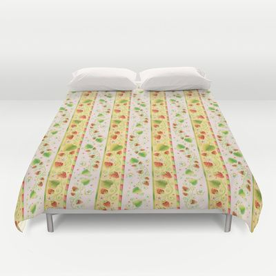 Strawberries and Cream Duvet Cover  by #PatriciaSheaDesigns on Society6