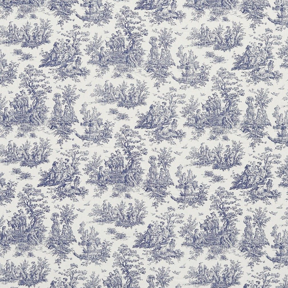Navy Toile Pastoral Cotton Printed Upholstery Fabric By The Yard