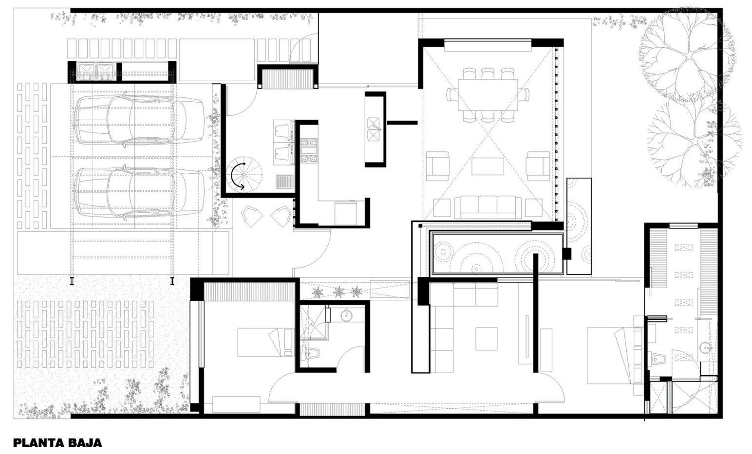 Dise o de casa moderna de un piso con tres dormitorios for Planos para casas modernas