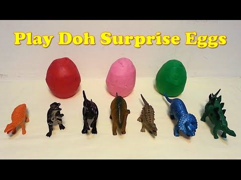 Play Doh Dinosaurs Eggs   Surprise Egg All Dinosaurs   Toy Videos For Kids