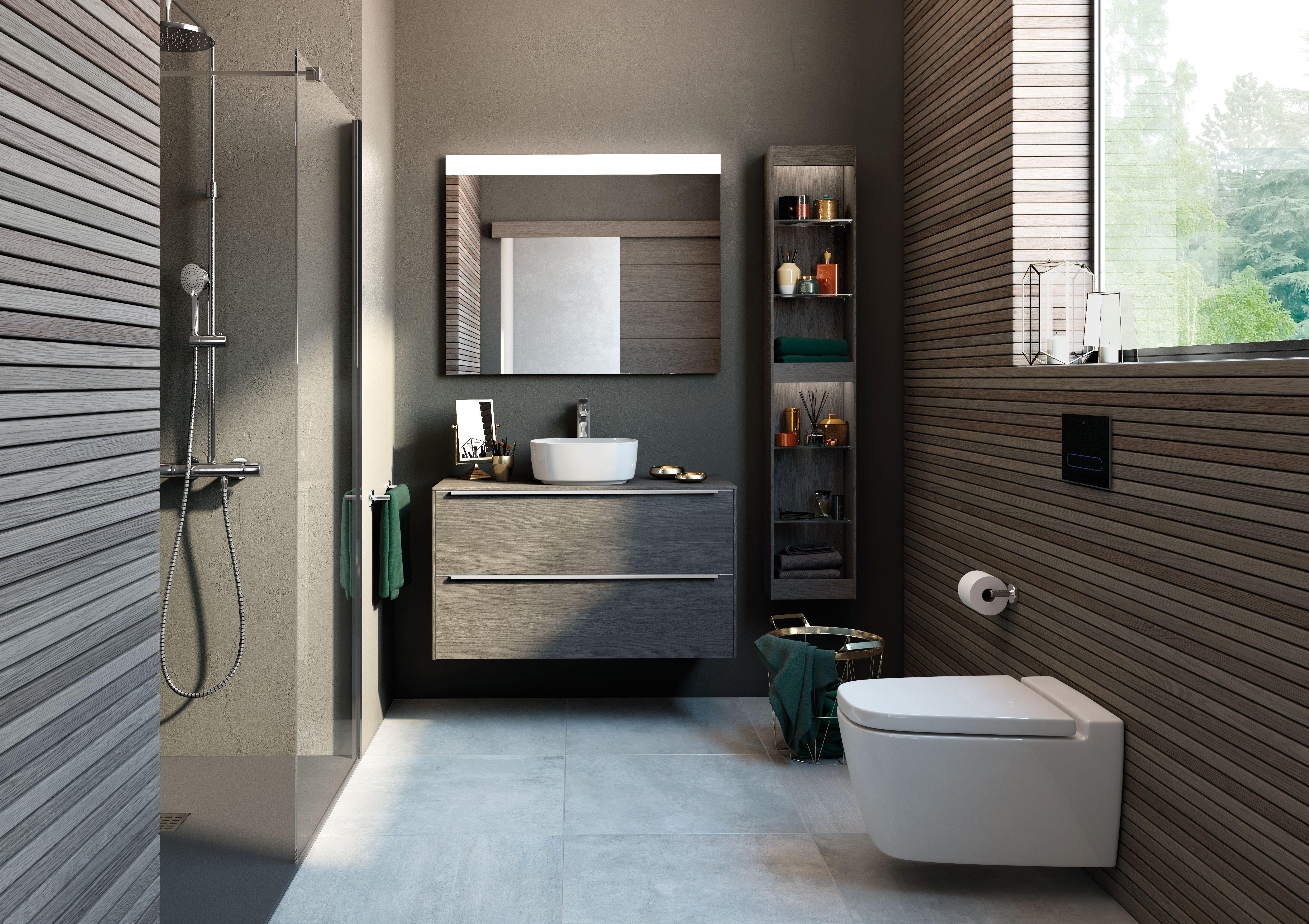 Inspira De Roca Nouvelle Salle De Bain Sanitaires En Fine Ceramic Meuble Tiroir Miroir Wc Suspendu Rimless Roca Bathroom Lavatory Design Bathroom Design