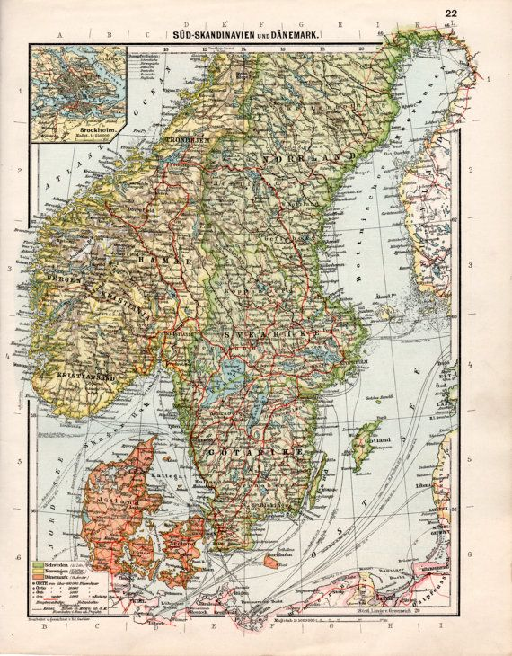 1926 scandinavia antique map northern europe old by craftissimo