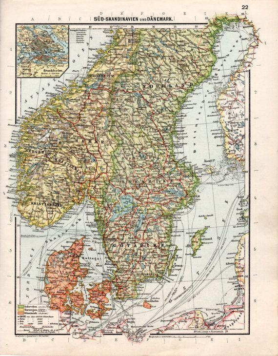1926 Scandinavia Antique Map Northern Europe Old Map Copenhagen Denmark Jutland Zealand Bergen Oslo Norway Malmo Stoc Antique Map Scandinavia Old Map