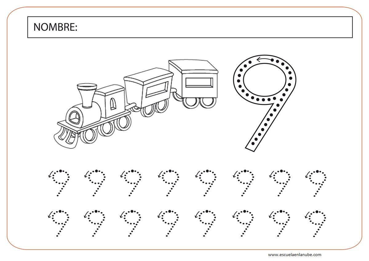 Numero 9 Para Preescolar Actividades Graficas Fichas Fichas De Preescolar