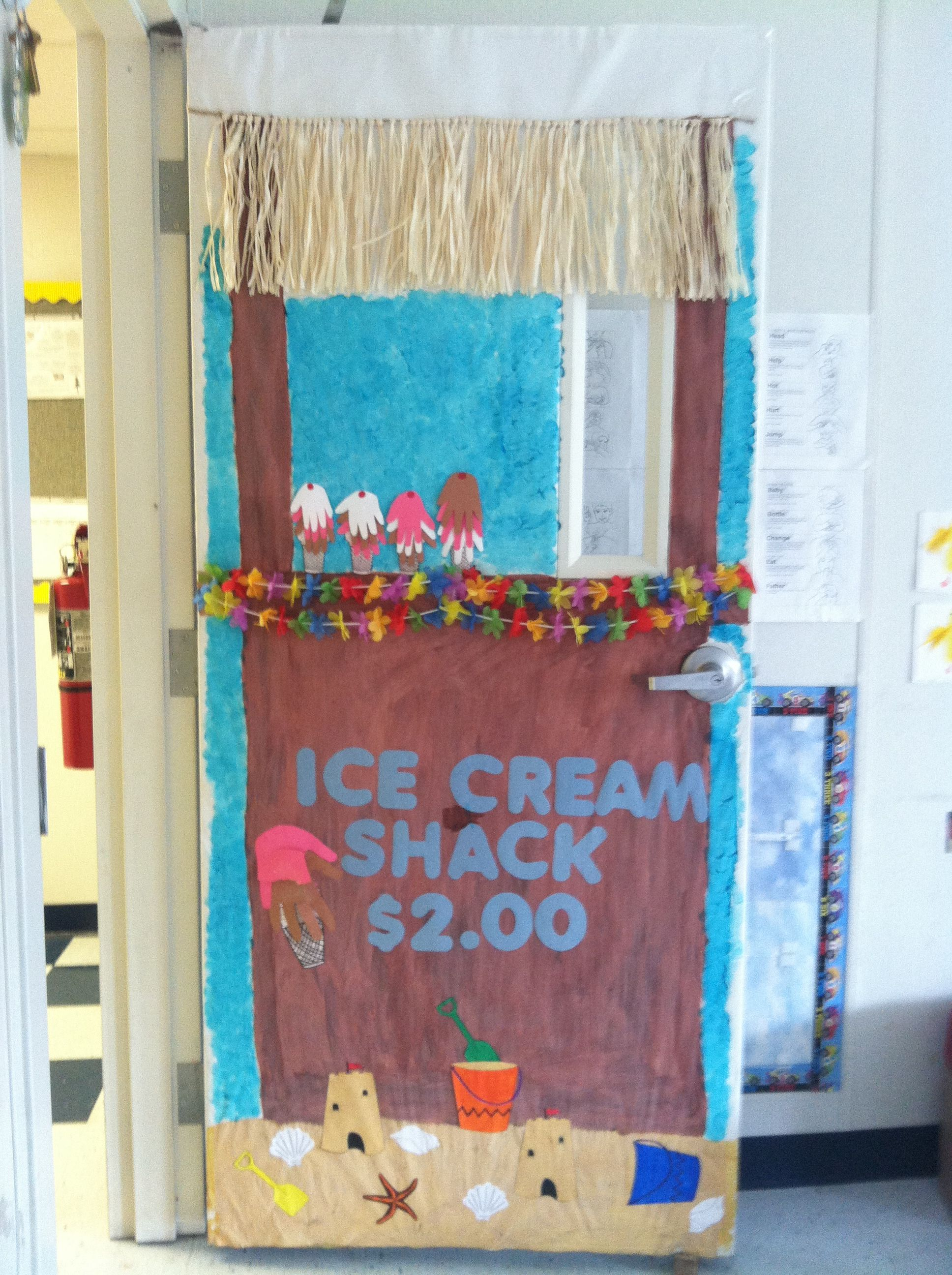 Classroom Door Decoration Ideas Summer : Ice cream stand summer door classroom decorating