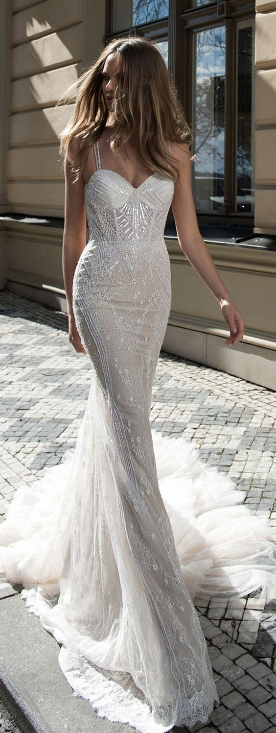Sequin Embellished Fit-and-Flare Wedding Dress - MODwedding