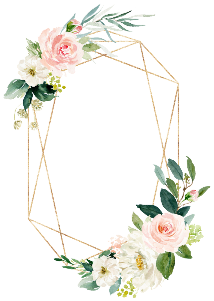 Geometric Blush Gold Floral Wedding Invitation Floral