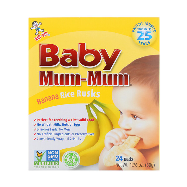 Hot Kid Baby Mum Mum Banana Rice Rusks 24 Rusks 1 76 Oz 50 G Baby Mum Mum Baby Banana Banana And Rice