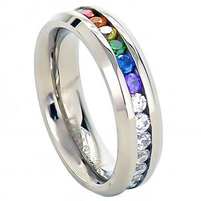full clear rainbow string lesbian gay engagment wedding ring - Rainbow Wedding Rings