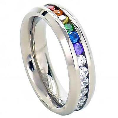 full clear rainbow string lesbian gay engagment wedding ring - Rainbow Wedding Rings