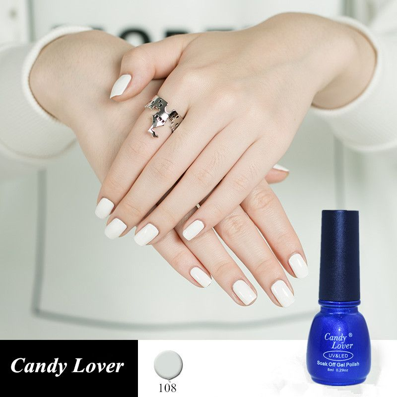 Candy Lover White gel nail polish for French Nail tips 8ml nude uv ...