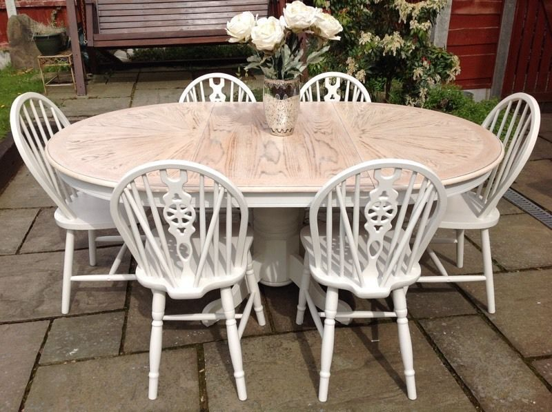 Shabby Chic Extending Round Oval Dining Table 6 Chairs