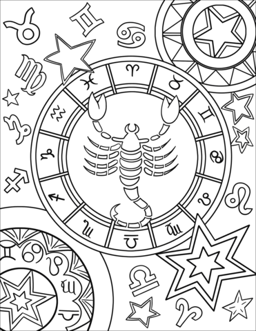 Scorpius Zodiac Sign Coloring Page Abstract Coloring Pages Geometric Coloring Pages Zodiac Signs Colors