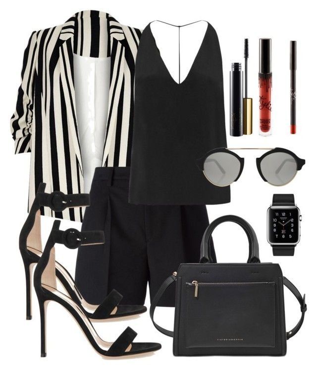 Pantsuit Boss by justfash on Polyvore featuring polyvore fashion style Cushnie Et Ochs River Island Yves Saint Laurent Gianvito Rossi Victoria Beckham Hermès Illesteva clothing thepantsuit