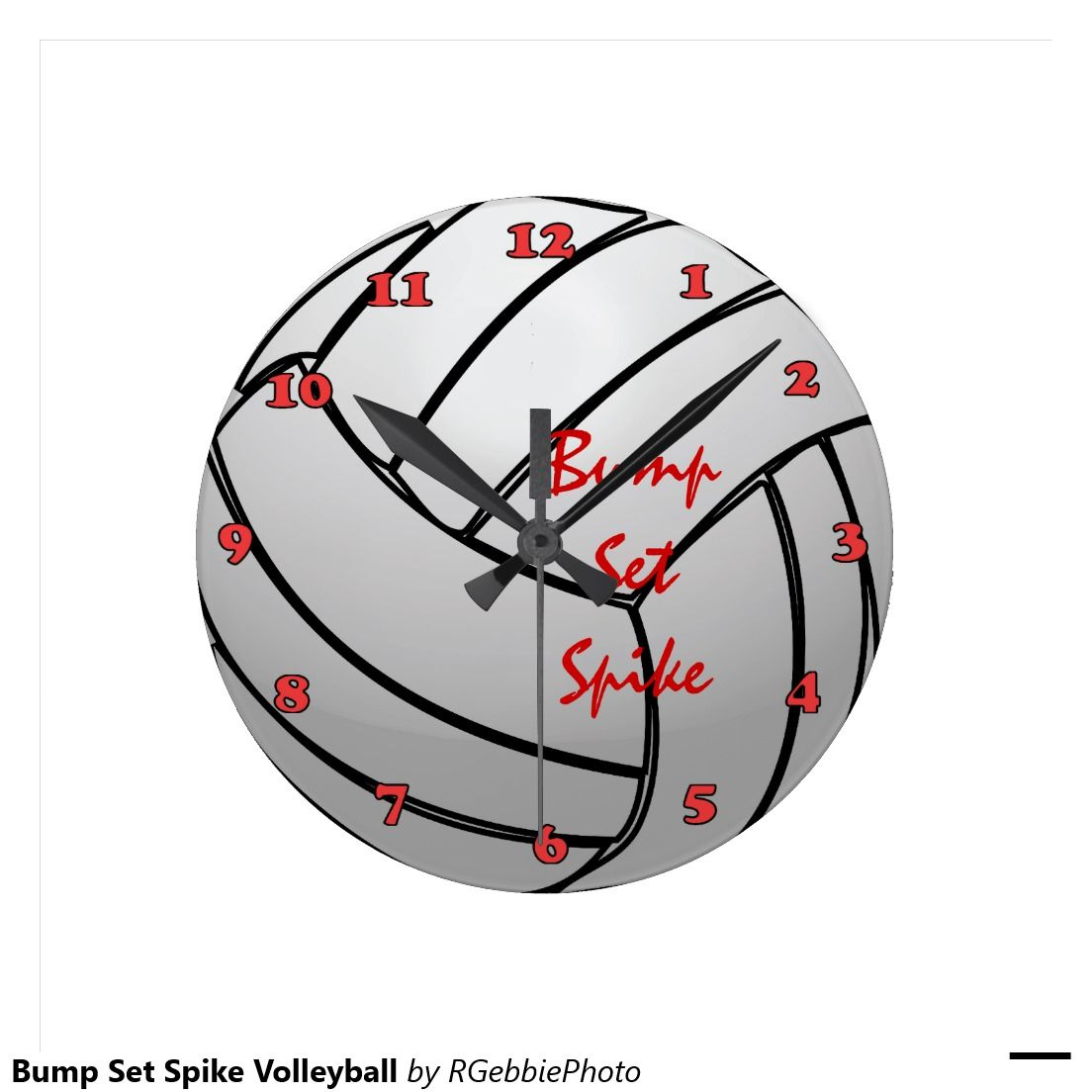 Bump Set Spike Volleyball With Numbers Round Clock Zazzle Com Spike Volleyball