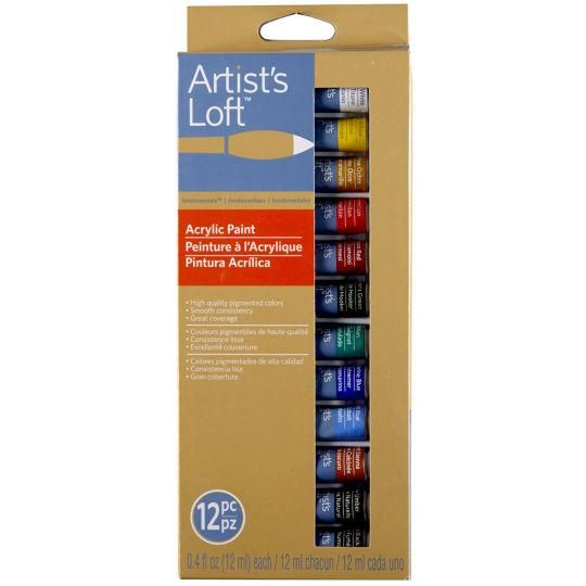 12 Color Fundamentals Acrylic Paints By Artist S Loft