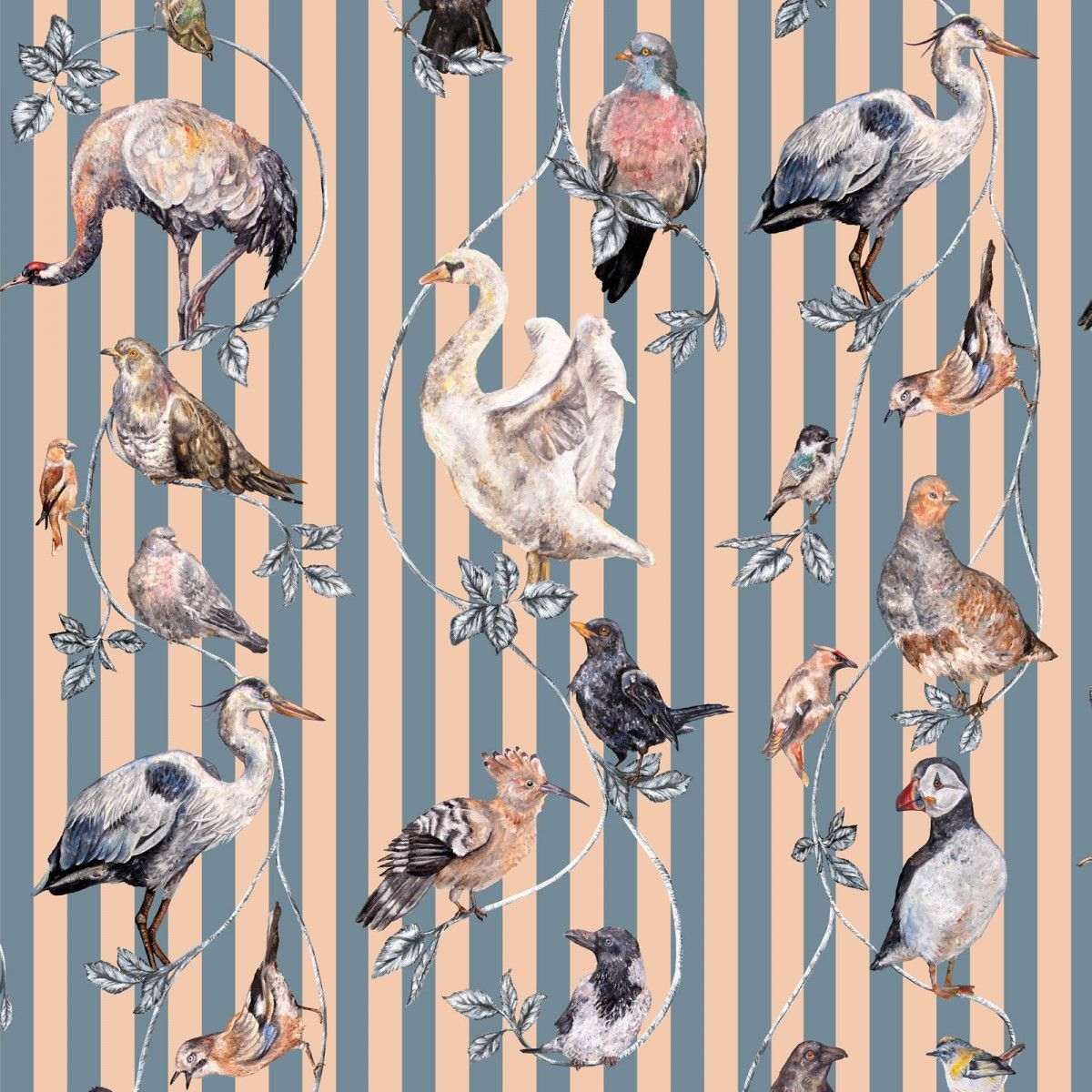 Flights Of Fancy Animals On Stripes Wallpaper Pattern By House Hackney