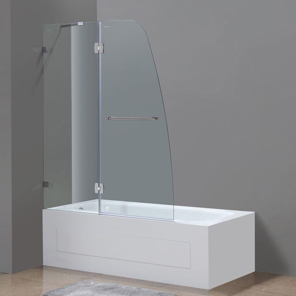 Soleil 48 Inch X 58 Inch Frameless Pivot Tub Shower Door In