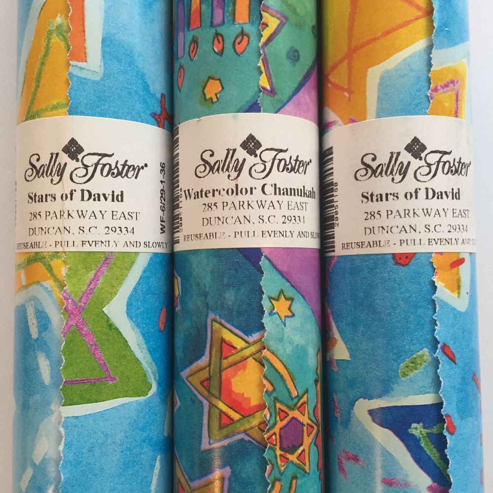 Good Sally Foster Gift Wrap Part - 5: Sally Foster Gift Wrap Chanukah Hanukkah Stars Wrapping Paper Lot Of 3 Rolls