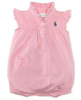 14a12efe7 Ralph Lauren Baby Romper, Baby Girls Mesh Polo Bubble Shortall - Kids Baby  Girl (0-24 months) - Macy's