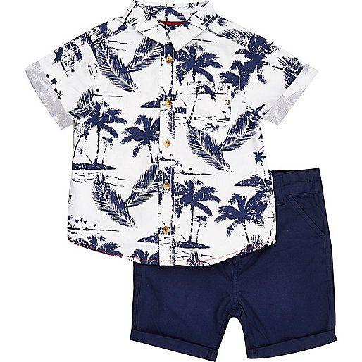 243ea2d0f Mini boys blue Hawaiian shirt shorts outfit - outfits - mini boys - boys  river island