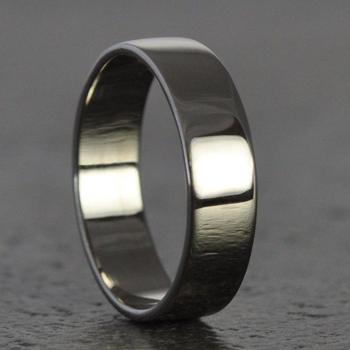 White Gold Mens Ring Hand Forged 18k Palladium White Gold Big