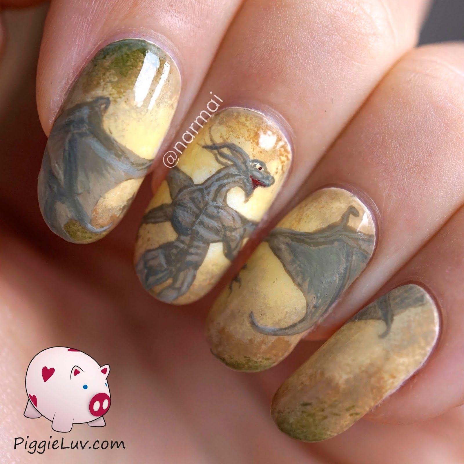 Earth dragon nail art | Dragon nails, Mani pedi and Pedi