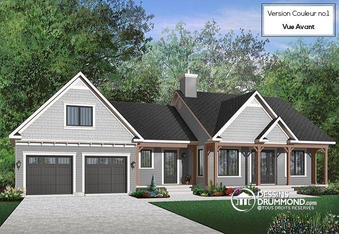 Version couleur no. 1 - Vue avant Maison style Ranch avec garage ...