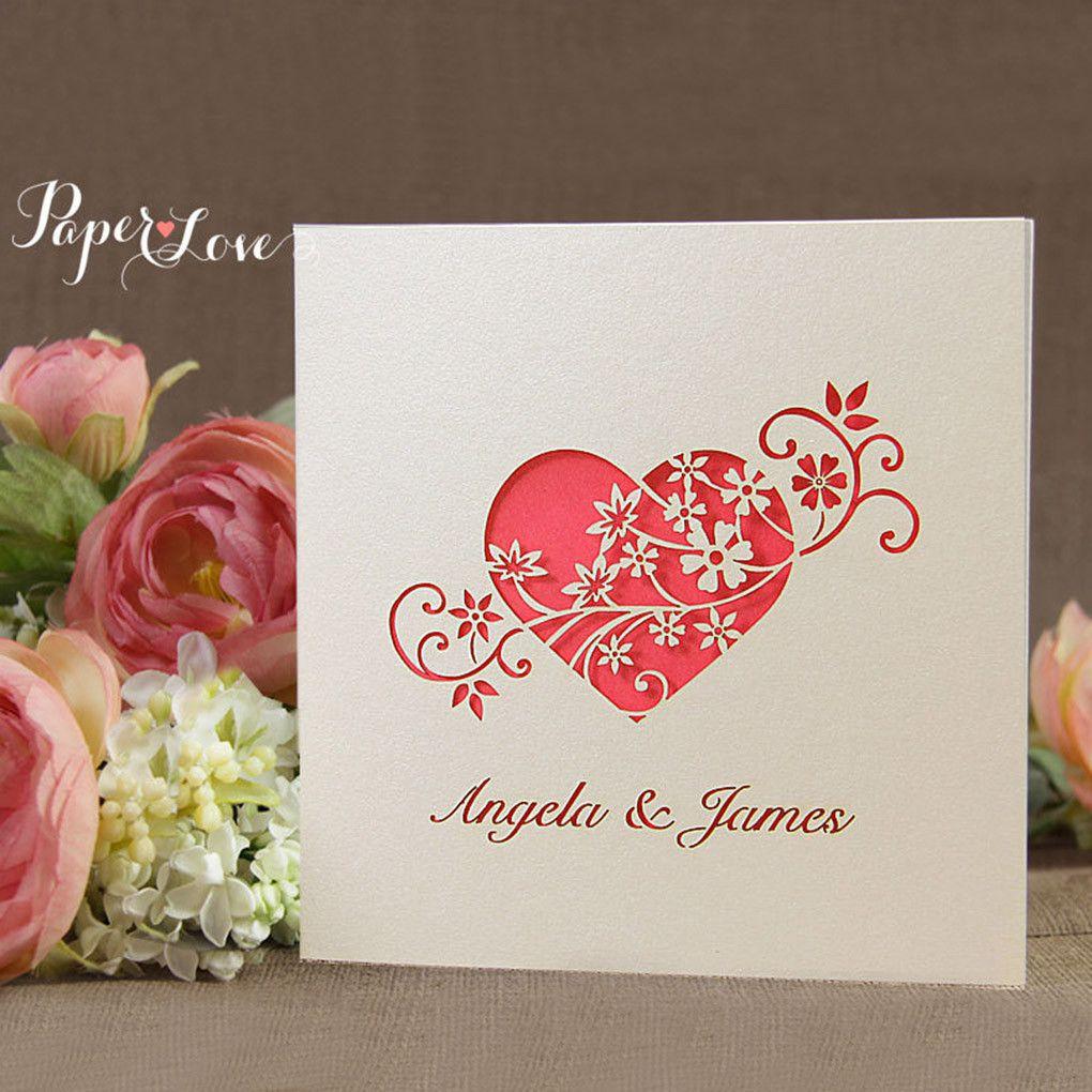 Laser Cut Heart Flower Wedding Invitation | tarjetas en laser ...