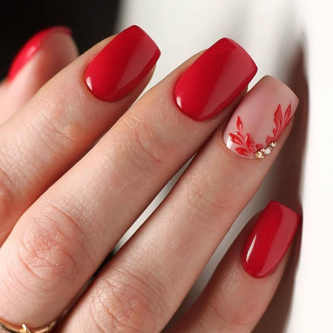 60 Cute Nail Design Ideas To Try This Season Nail Designs Red Acrylic Nails Red Gel Nails