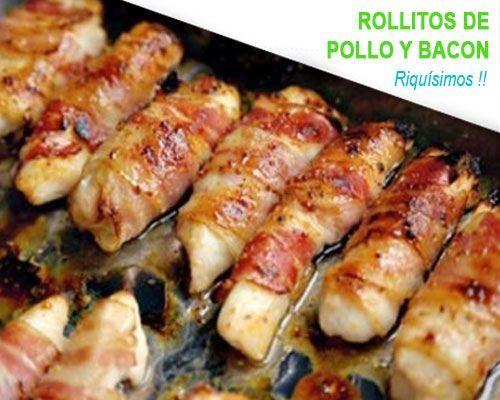 Rollitos De Pollo Y Bacon Al Horno Pollo Envuelto Pollo Con Tocino Pechuga De Pollo Al Horno