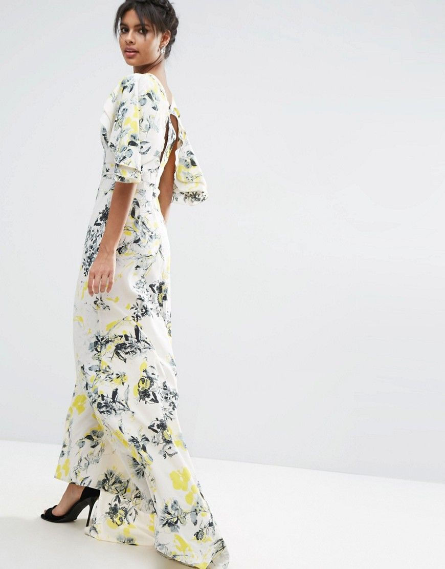 f4266affa3ad Image 2 of ASOS Ruffle Cape Deep Plunge Floral Maxi Dress | clothing