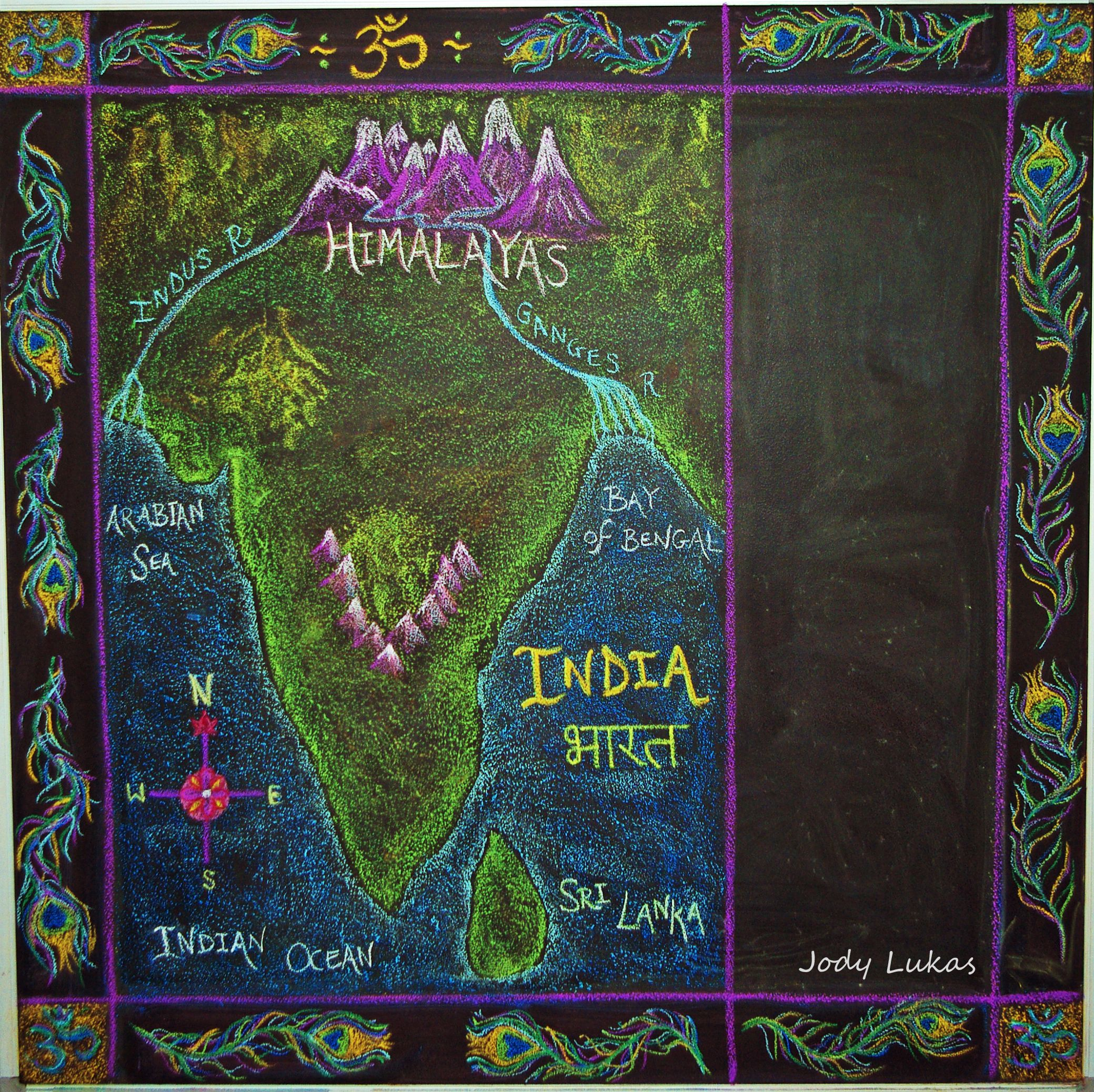 India Map blackboard chalk drawing Ancient India main