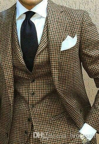 2017 New Coat Pant Design Houndstooth Mens Tuxedos Groom S Wear