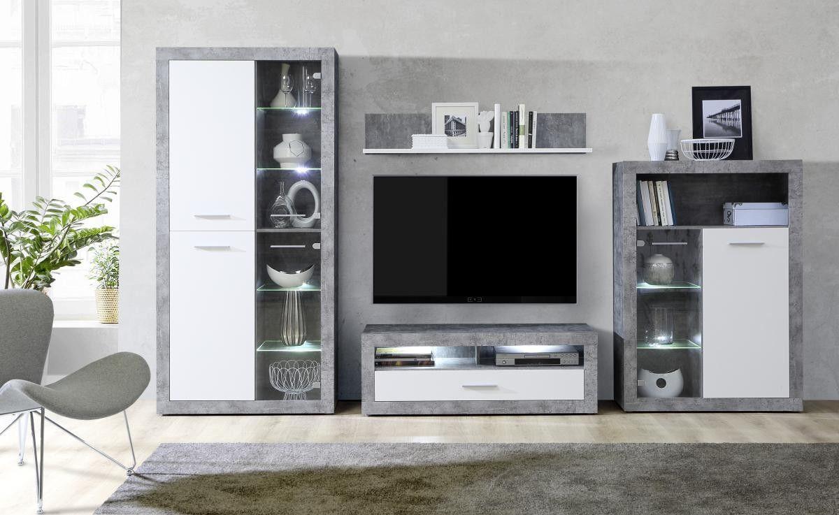Wohnwand Finley Beton Optik/weiß ▷ online bei POCO kaufen
