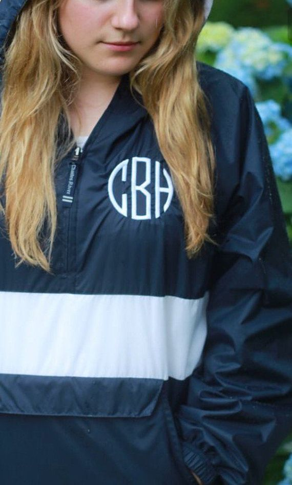 Striped Pullover Monogrammed Rain Jacket ~ Monogrammed Pullover ~ Charles River Pullover ~ Trendy ~ Super Cute ~ Great Gift Idea